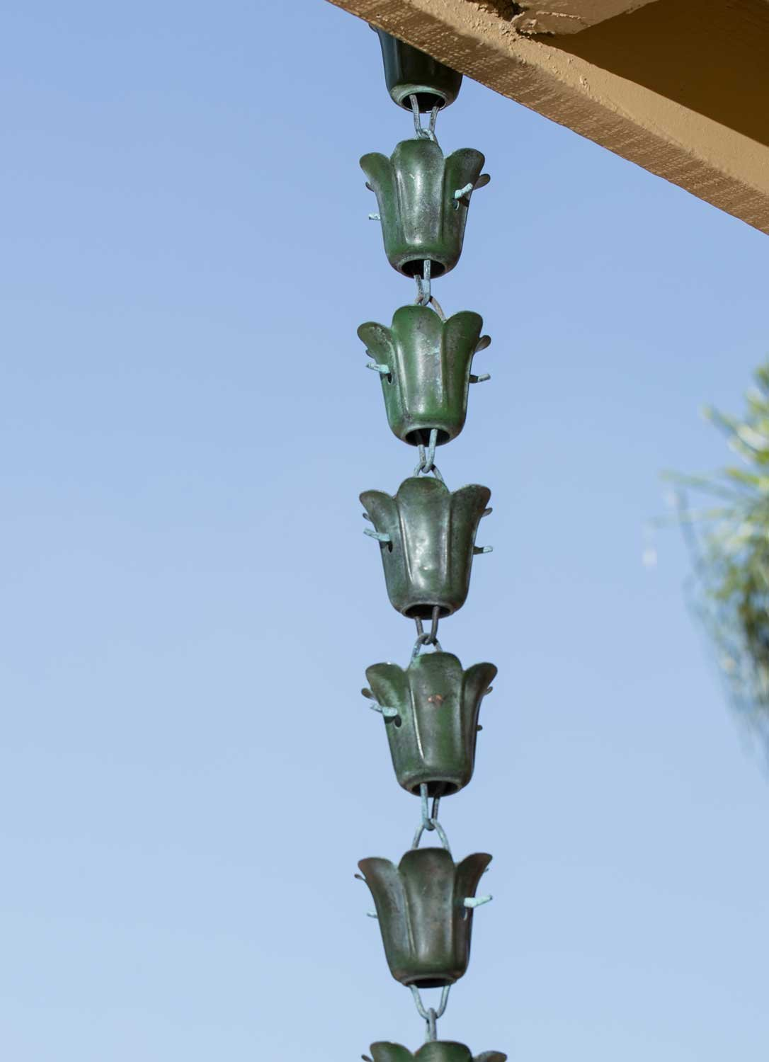 Monarch 8.5 ft. Copper Tulip Rain Chain with Green Patina Finish