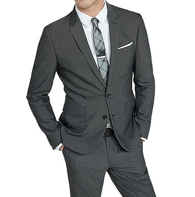 Botong Dark Grey 2 Buttons Men Suits 2 Pieces Wedding Suits Groom ...