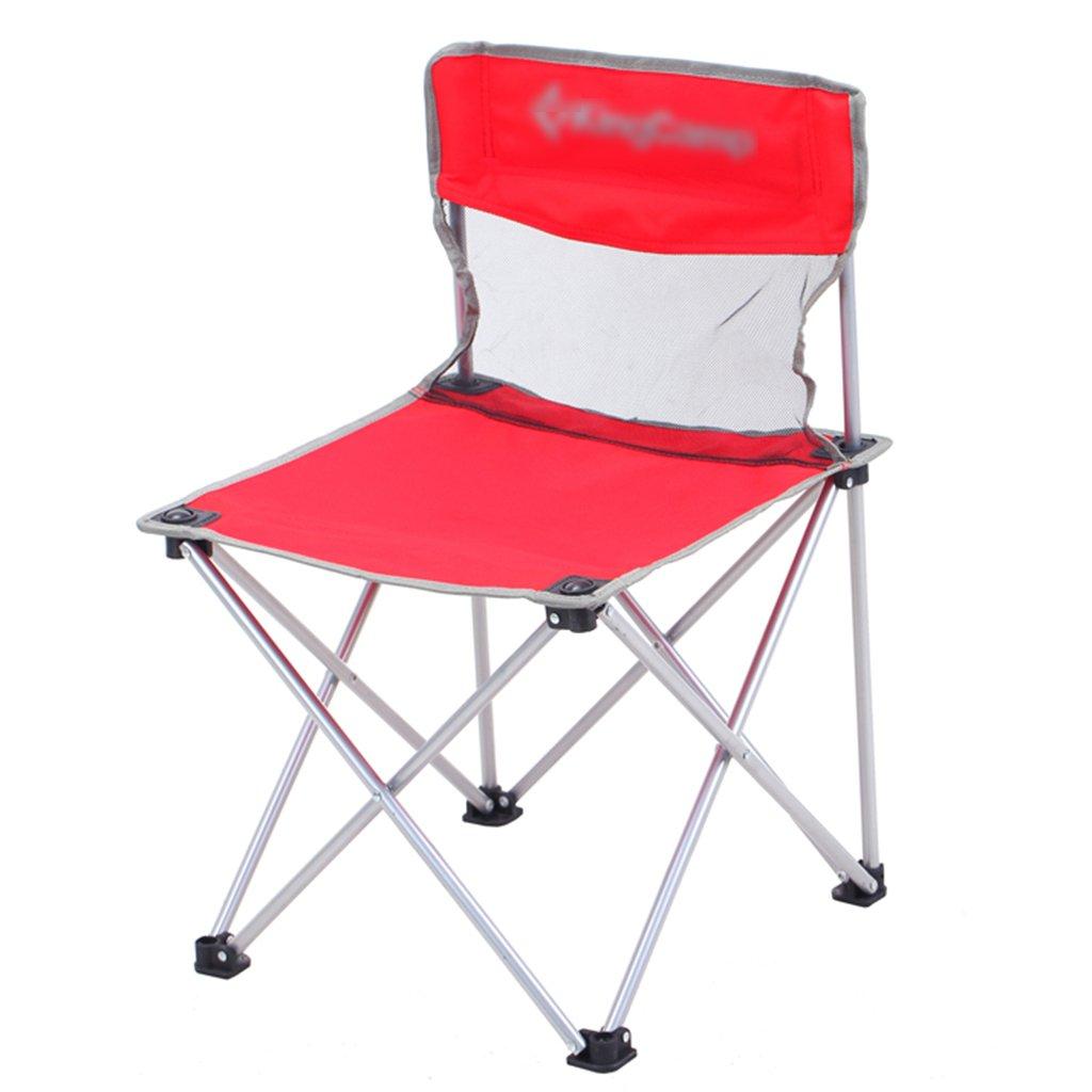 ZGL 旅行椅子 屋外折りたたみチェアポータブルビーチカジュアルチェア折りたたみ釣り用スツール背もたれ椅子屋外椅子の色オプション ( 色 : 赤 ) B07CG7D2SM  赤