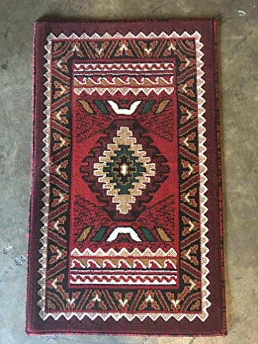 South West Native American Doorway Mat Area Rug Red Design D143 2 feet X 3 feet 4 inches
