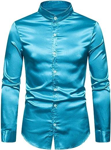 MXJEEIO - Camisa para Hombres Transpirable Manga Larga Color Sólido para Hombres Slim Fit Formales/Casual Camisas Negocios Clásico Poliéster Camisa Tops Blusa Cuello Henry de Manga Larga para Hombres: Amazon.es: Ropa y