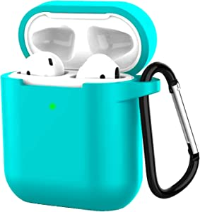Compatible with Airpods 2 Wireless Charging Silicone Case Protective Silicone Cover and Shockproof Skin Cover with Anti-Lost Carabiner Keychain [Front LED Visible]- Blue