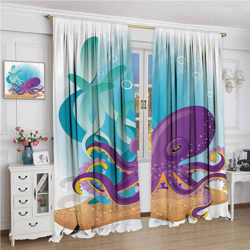 GUUVOR Marine Wear-Resistant Color Curtain Cute Octopus on Seabed Underwater with Coral Reefs Aquarium Print Waterproof Fabric W108 x L72 Inch Sky Blue Purple Sand Brown by GUUVOR