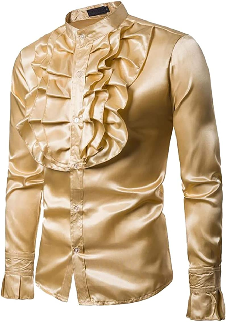 Suncolor8 Mens Ruffle Formal Buttons Stand Collar Fashion Dress Shirts