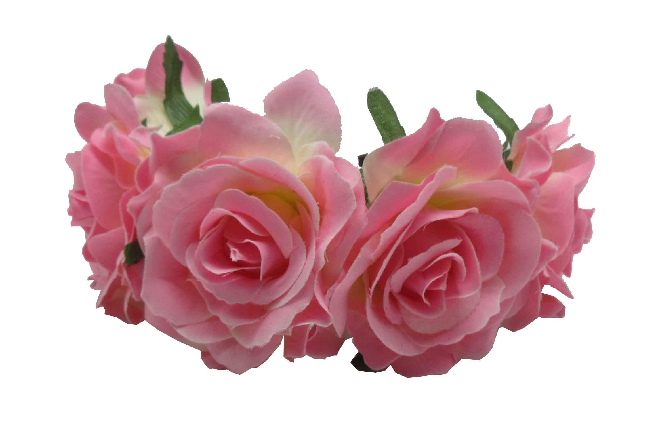 Love Fairy Vintage Rose Flower Headband Crown Hair Garland for Travel Wedding Party Festivals (Pink)