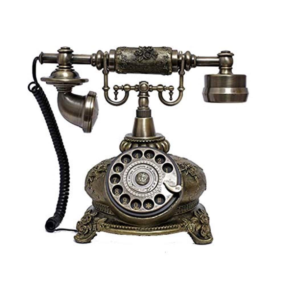固定電話 レプリカアンティーク電話、ヴィンテージレトロ固定電話の家の家の電話の受話器、コード付きマシンゴールデンファッション60年代の古典的なロータリーダイヤル。 固定電話 B07QPMS15Y