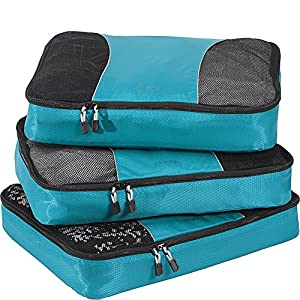 eBags Large Packing Cubes for Travel 3pc Set (Aquamarine)