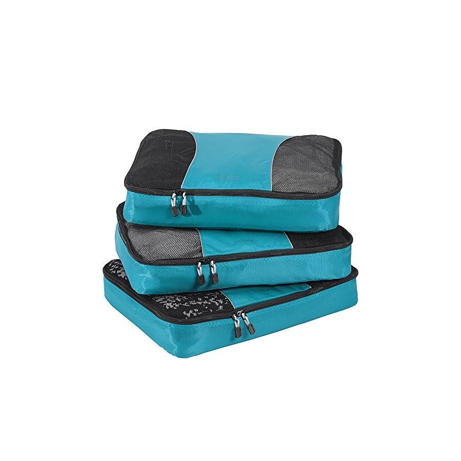 eBags Large Packing Cubes for Travel 3pc Set (Aquamarine)