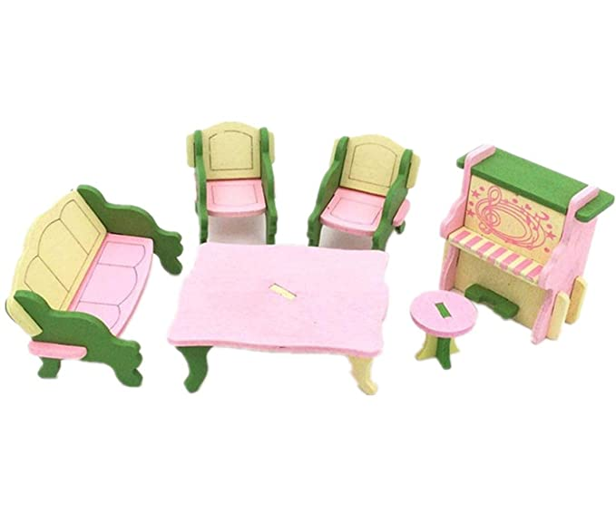 Amazon.com: Sunward Wooden Doll House Furniture Set Toy For Baby ...