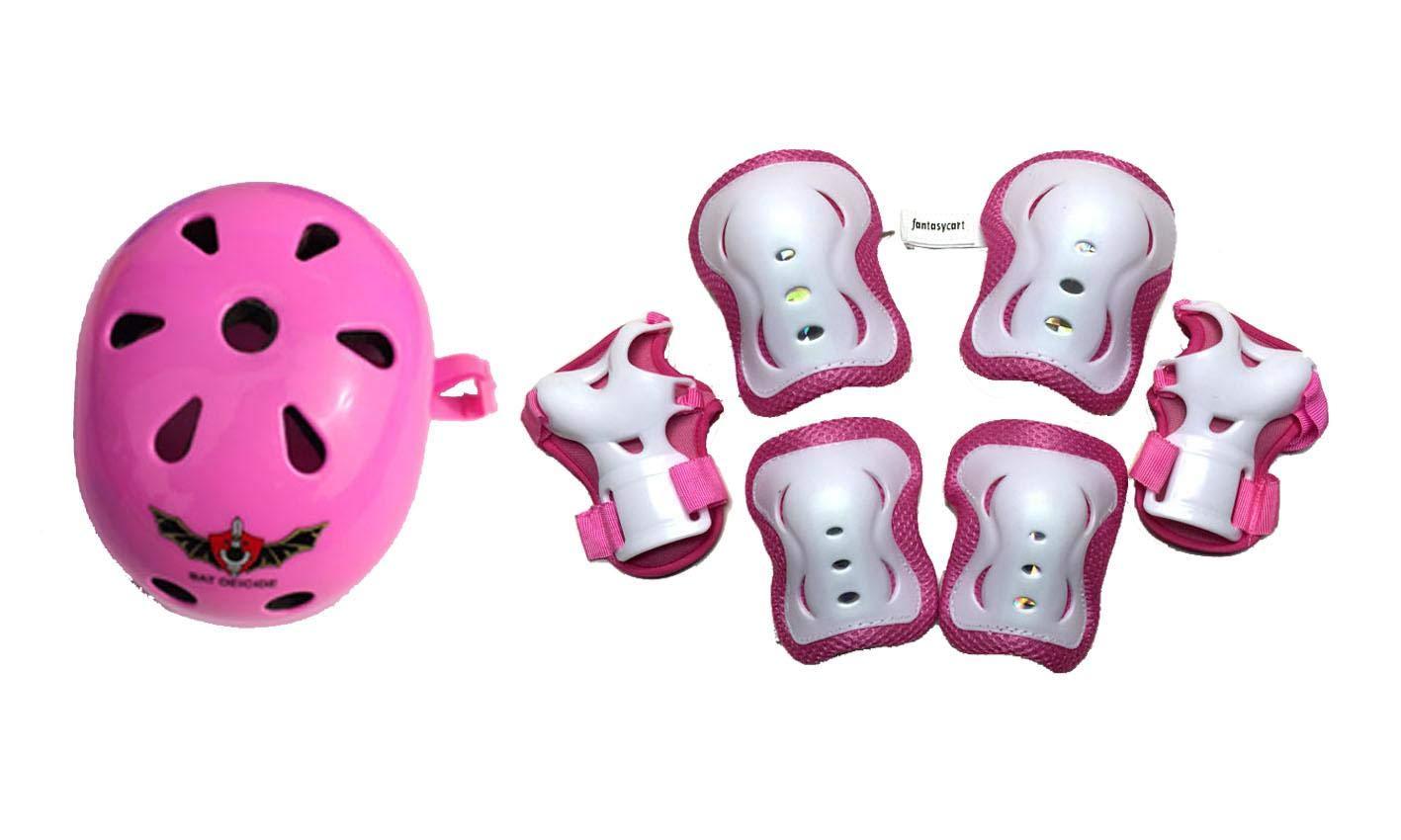 Fantasycart Kid's Skateboard Longboard Helmet Knee & Elbow Pads Wrist Guard Combo Pink Set 2-8 years old by Fantasycart's