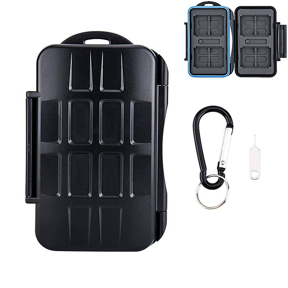 28 Slots Water-Resistant Memory Card Case SD MSD Card Holder Storage 4 CF + 8 SD + 16 Micro SD Cards Carabiner + Card Tray Removal Eject Pin Key/Color: Black Body + Blue Seal Ring