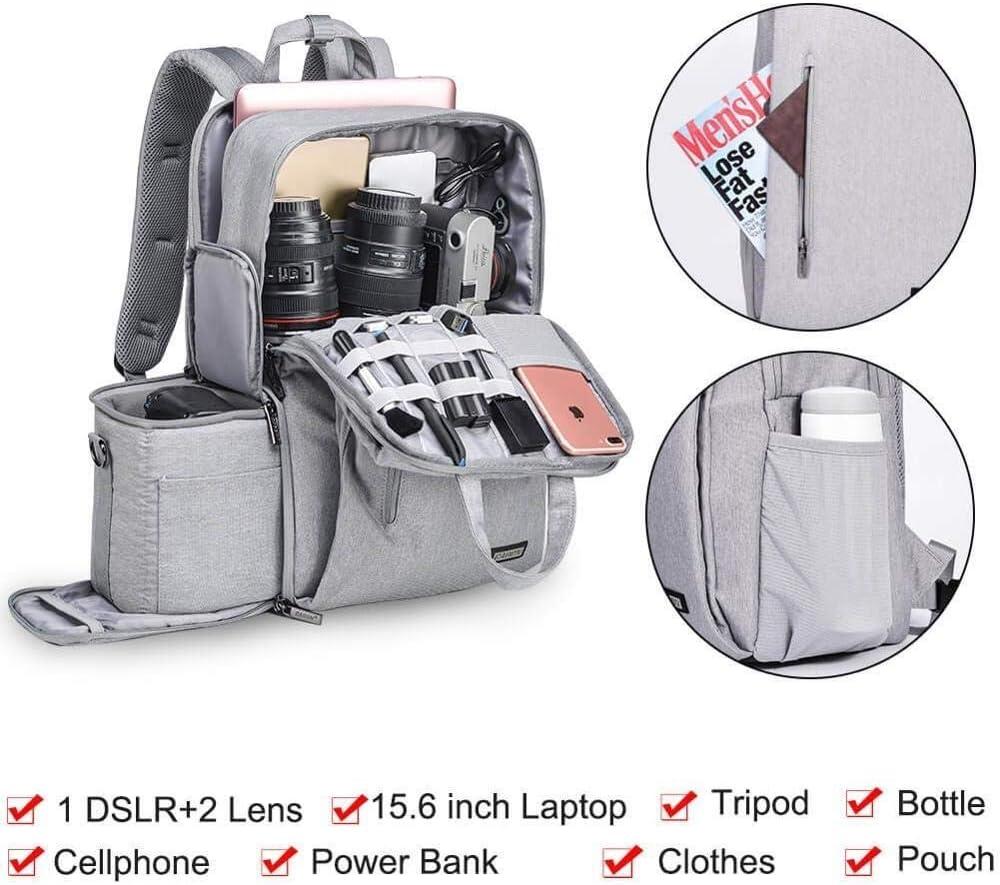 He-lanshangmaobu Fashion Camera case DSLR Camera Bag Waterproof Backpack Shoulder Laptop Digital Camera /& Lens Photograph Luggage Bags case for Canon Nikon Color : Sliver Gray
