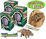 Toysmith Dinosaur Egg Excavation Kit Party Set Bundle - 3 Pack (Assorted)