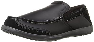 Crocs Men's Walu Luxe Leather Slip-On Loafer, Black/Graphite, ...