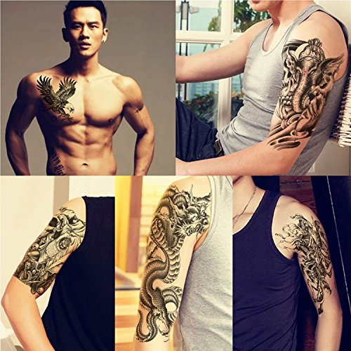 Extra Large Temporary Tattoos, 5 Sheets Fake Tattoo Biker Tattoo Waterproof Sticker, Half Arm Tattoo Sleeves for Men Women Teen, Halloween Christmas Gift (5 Sheets, Multi-style)