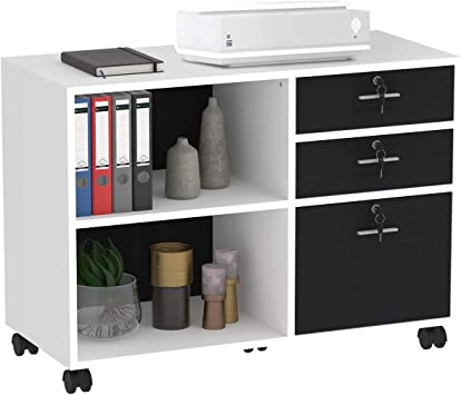 Black Printer Stand with Open Storage Shelves for Home Office DEVAISE 3-Drawer Wood File Cabinet with Lock Mobile Lateral Filing Cabinet