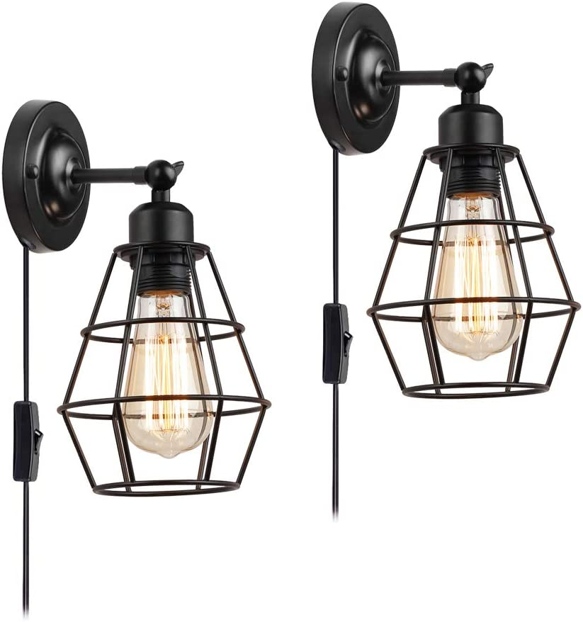 Wire Cage Wall Sconce, KOONTING 2 Pack Industrial Wall Lamp with Plug-in Cord and On Off Toggle Switch, Vintage Style E26 Base Metal Wall Light Fixture for Headboard Bedroom Garage Porch Mirror