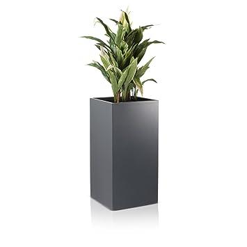 Pflanzkübel Blumenkübel TORRE Fiberglas Pflanztopf - Farbe: grau ...