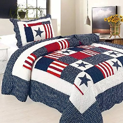 """Wholesale Alicemall Kids Quilts The Stars and Stripes Print Blue and Red Patchwork Quilts Summer Quilts for Boys and Girls Twin Size, 59"""" x 79"""" (BlueStar) for cheap"""