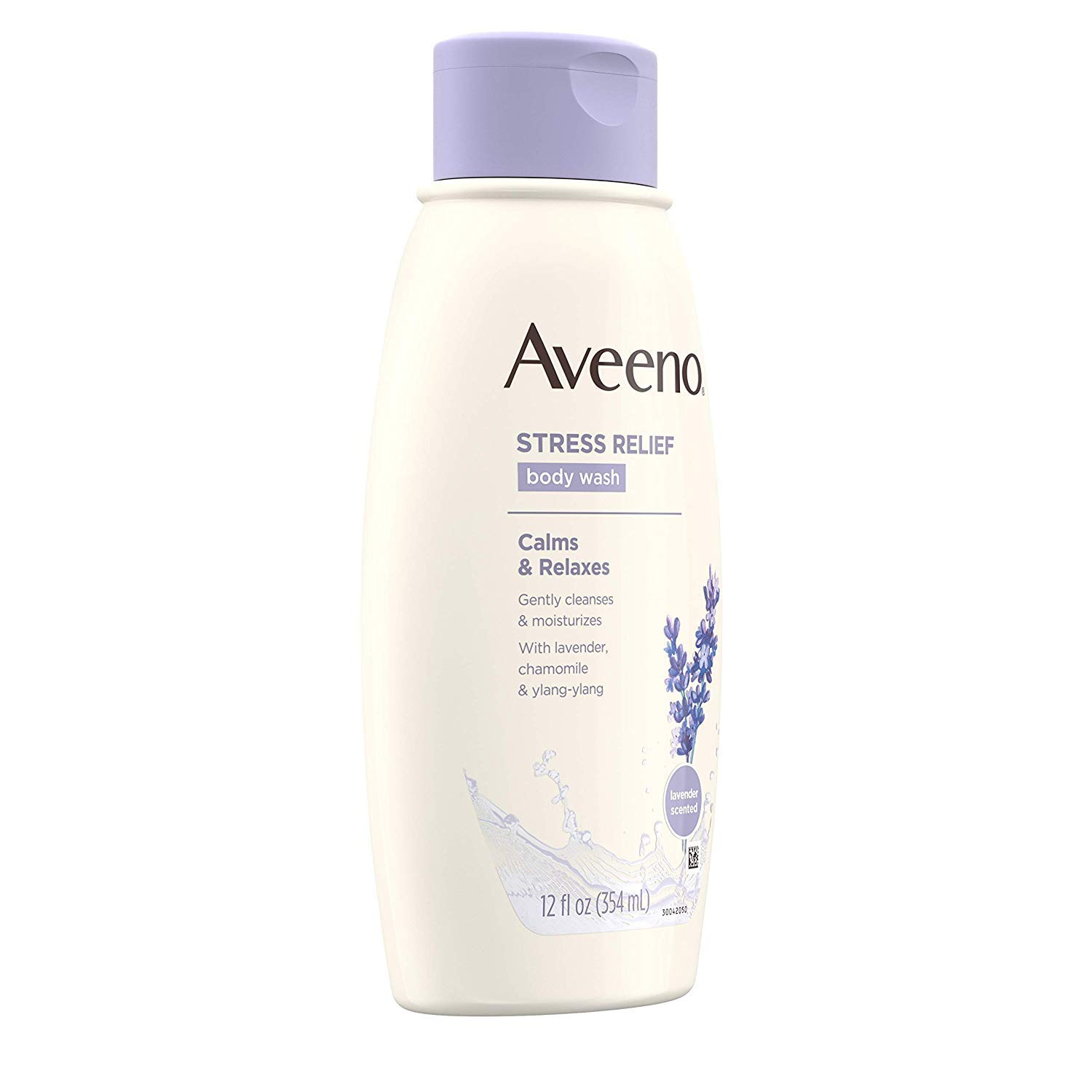 Aveeno Stress Relief Body Wash with Soothing Oat, Lavender, Chamomile Ylang-Ylang Essential Oils, Hypoallergenic, Dye-Free Soap-Free Calming Body Wash gentle on Sensitive Skin, 12 fl. oz 5 Pack
