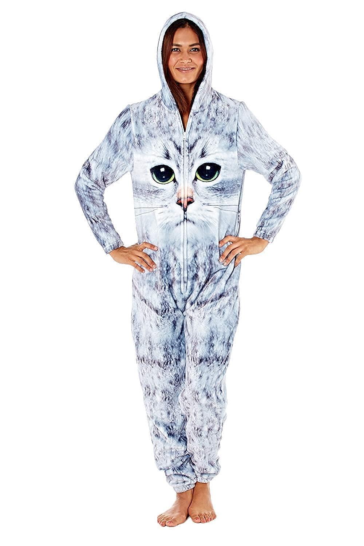 Ladies Selena Secrets Fair Isle Reindeer Design Microfleece All In One Sleepsuit