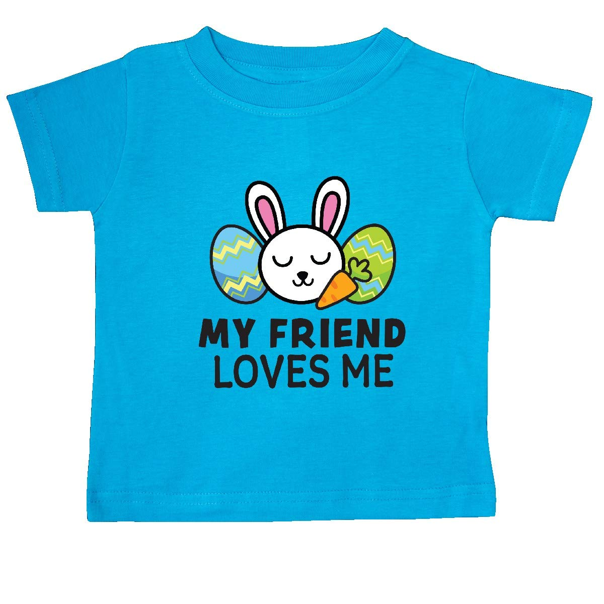 inktastic My Friend Loves Me with Bunny and Easter Eggs Baby T-Shirt