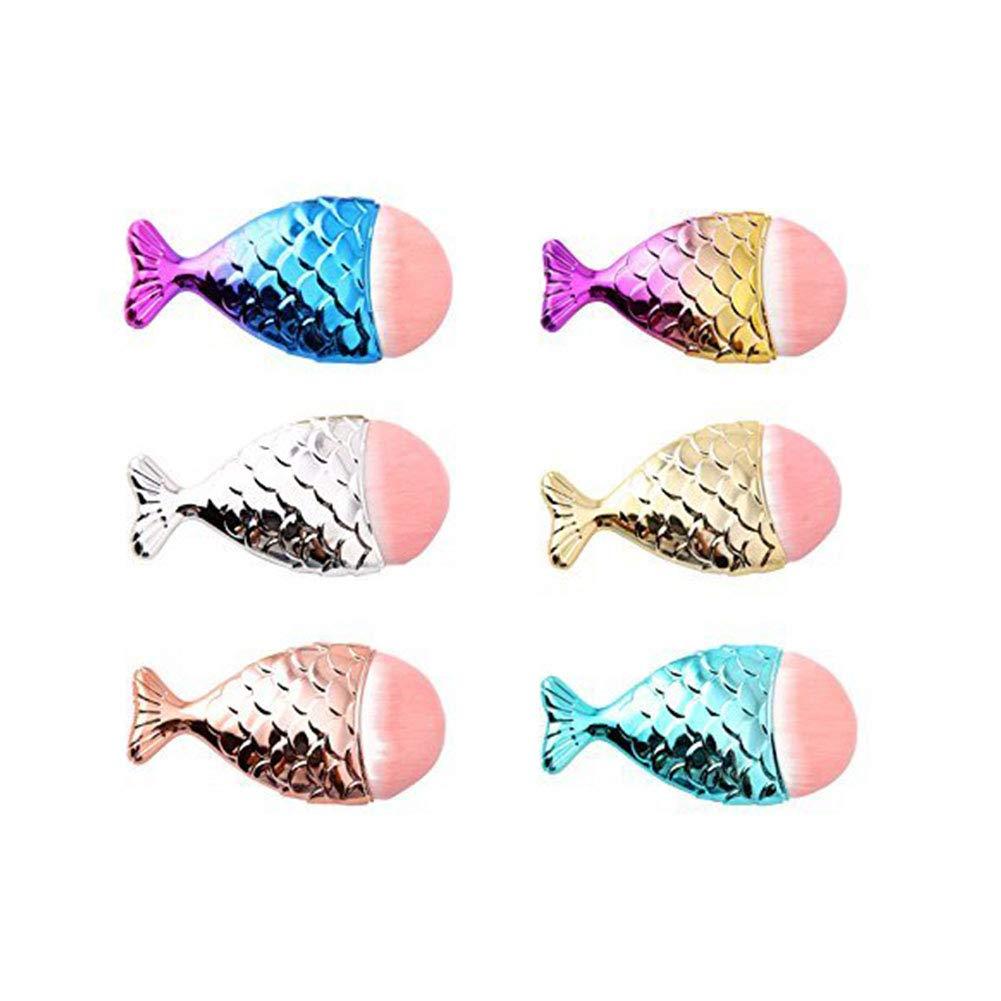 Women Colorful Mermaid Makeup Brush Professional Foundation Brush for Face Eyeshadow Eyeliner Naisidier