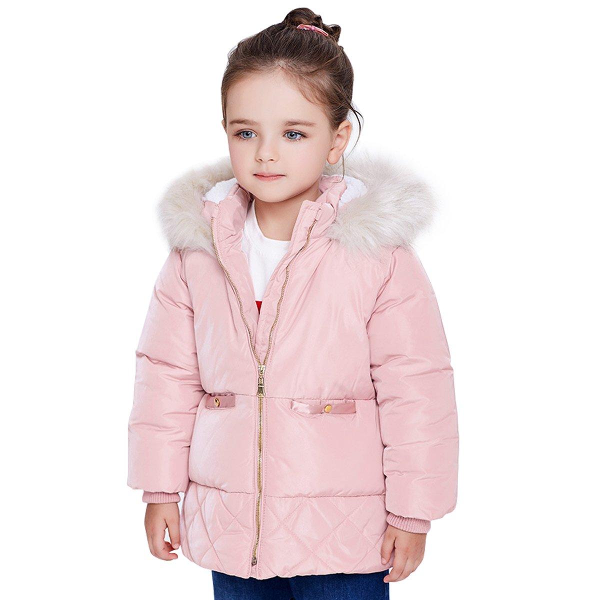 Famuka Manteau avec capuche fourrure fille doudoune d'enfants