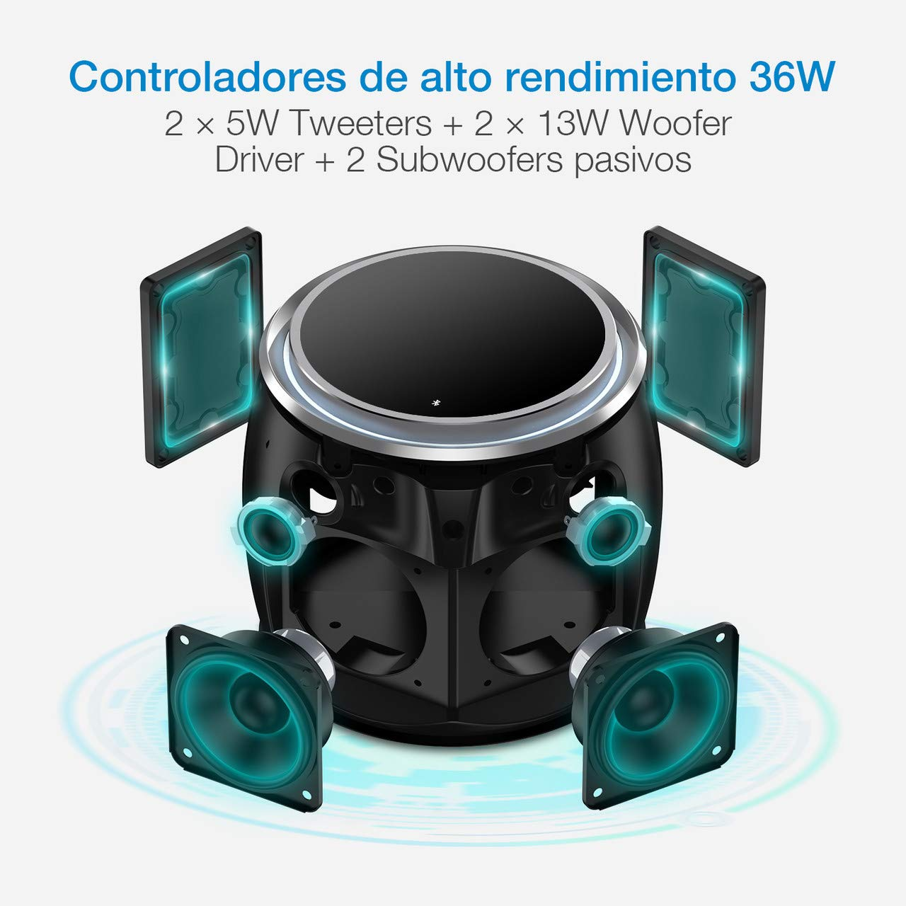 POWERADD DEE-G Altavoz Inalámbrico, Bluetooth 4.2, con 13W*2 y 5W*2 Altavoces,Compatible con los Dispositivos de Bluetooth, con Aux Cable.
