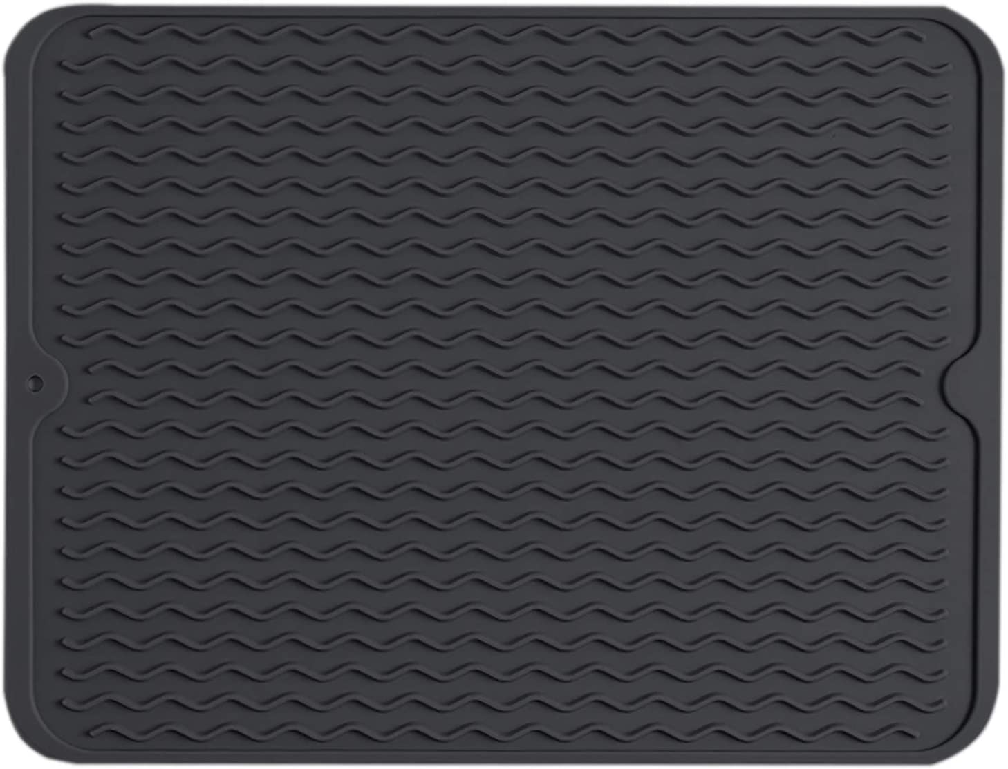 MYLIFFRI Silicone Dish Drying Mat - Large Heat Resistant Counter Top Pad, Food Grade and Flexible Draining & Sink Mat for Pots, Pans, Glassware, Fruits & vegetables (16 x 12 inches, Black)