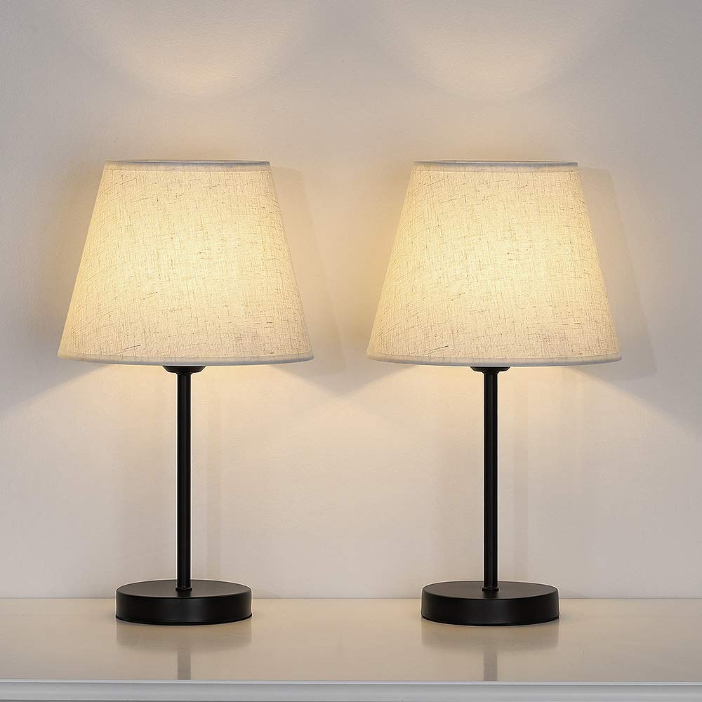 Bedside Table Lamp Set of 2, Modern Small Nightstand Lamp, Minimalist Metal Desk Lamp with Linen Shade for Dresser, Bedroom, Living Room, Coffee Table, Office, College Dorm