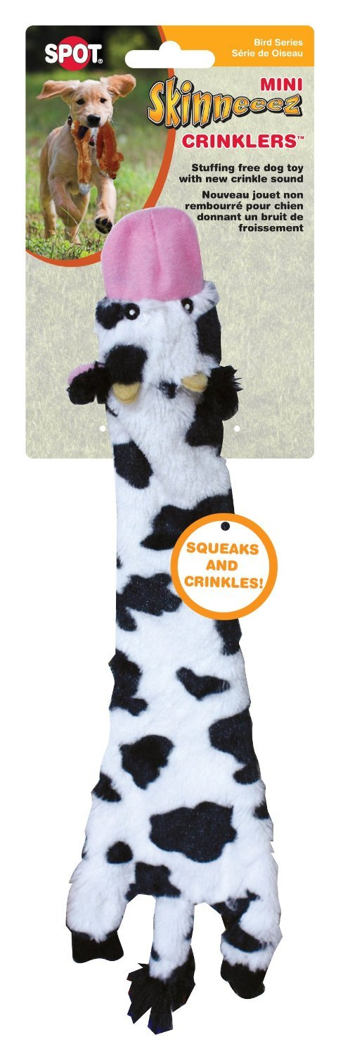 Ethical Pets Skinneeez Crinklers Cow Dog Toy, 14-Inch (2 Pack)