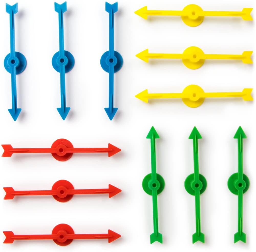 12-pack of Arrow Game Spinners in 4 Rainbow Colors, 3 Arrows Per Color – Assorted Set of 4-inch Plastic Spinner Game Pieces for DIY Board Games, Replacement Pieces, Projects & Classroom Activities