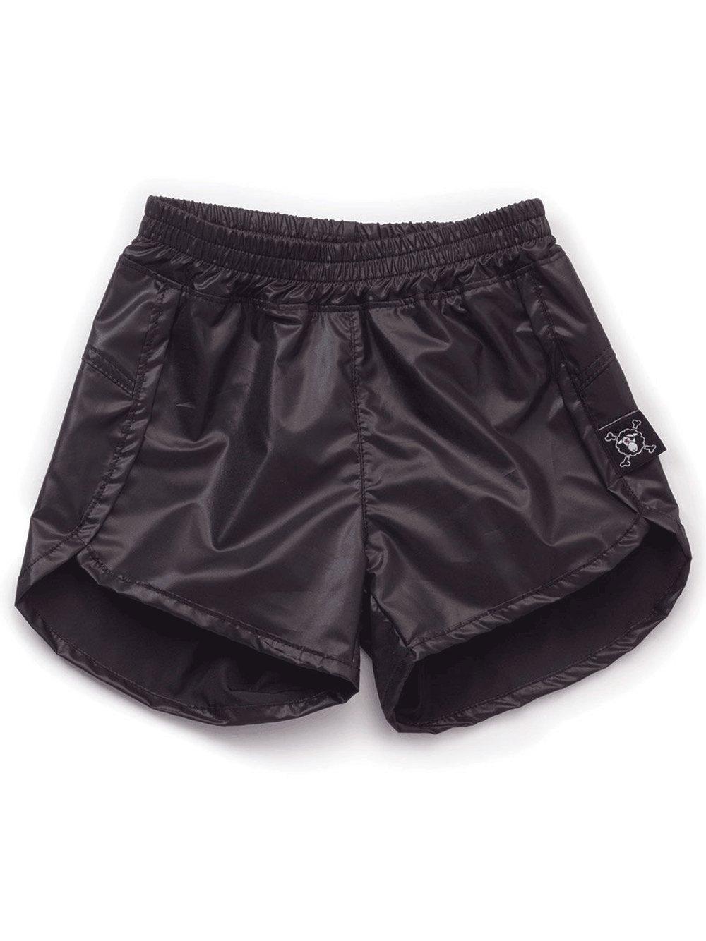 NUNUNU Girls' Nylon Gym Shorts Sz 4-5 Years Black