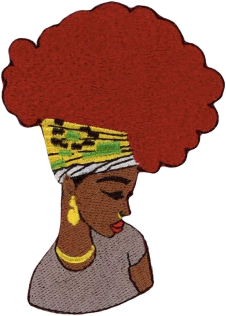 Afro Girl Patch Embroidered Iron-On Applique for Backpacks Jeans Jackets T-Shirts Clothing Multicolored