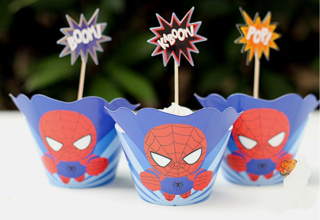 Astra Gourmet 24 sets Supercute Superhero Cupcake Toppers and Wrappers, Avengers Cupcake Toppers and Wrappers, Superman Batman Ironman Captain America Spiderman and Robin