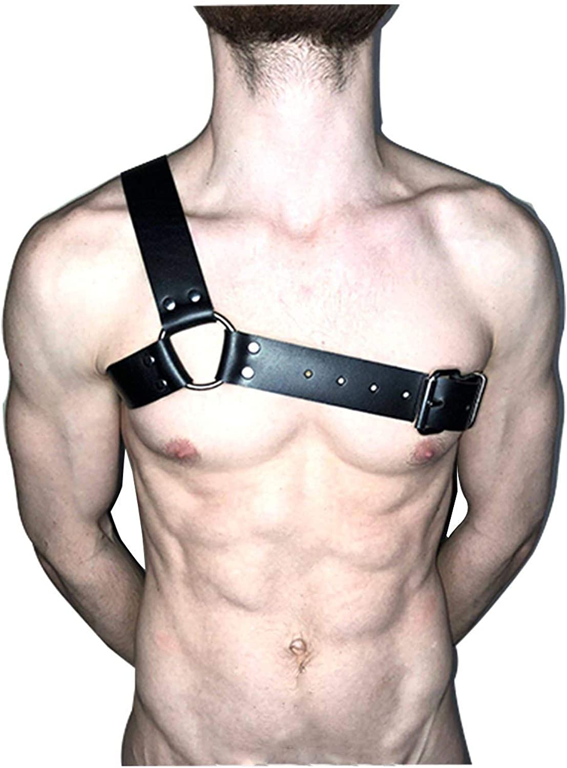 PU Leather Gothic Costume Full Men Body Chest Harness Punk Belt Clubwear Black