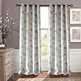 Anady Top Pink/Purple/Blue Flower Curtains 2 Panel Green Leaf Lined Curtains Drapes 72 inch Wide Review