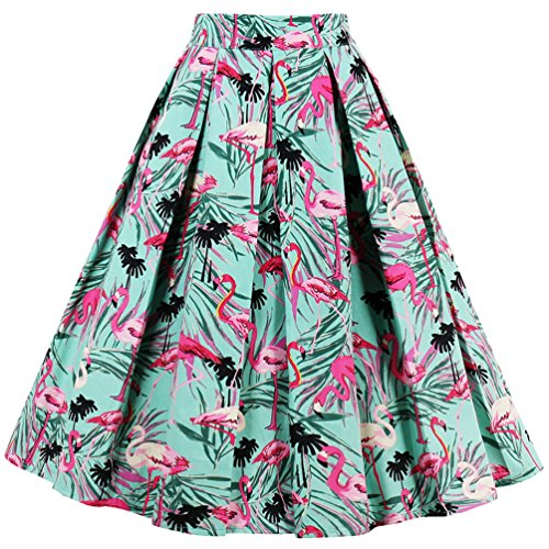 Dressever Women's Vintage A-line Printed Pleated Flared Midi Skirt Pink Flamingos Large