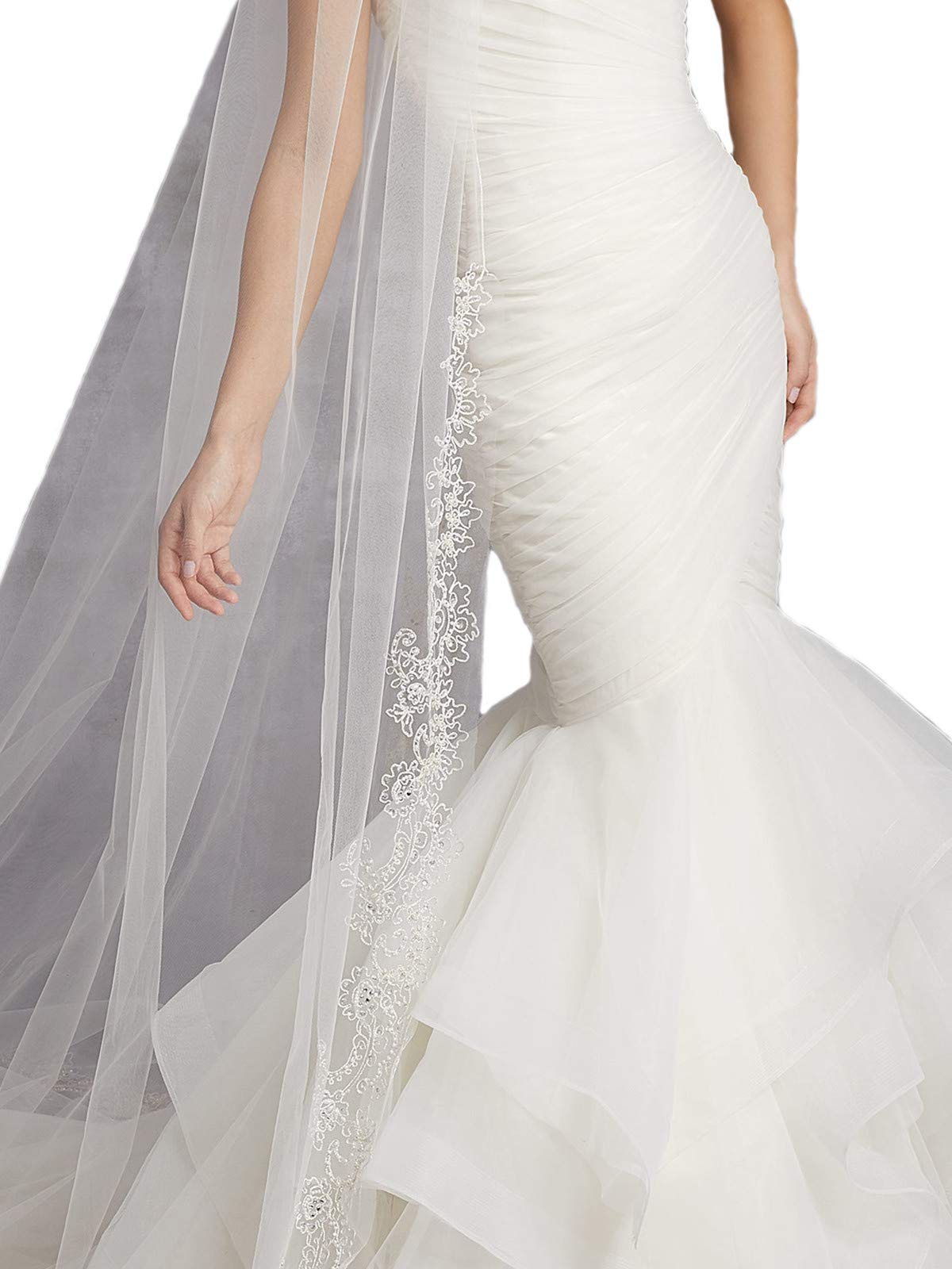 Passat Diamond White Single-Tier 3M Cathedral Veil with Embroidery of Pearls, Sequins, and Rhinestones VL-1016