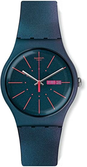 Amazon.com: Swatch Archi-Mix New Gentleman Blue dial Silicone Strap Mens Watch SUON708: Watches