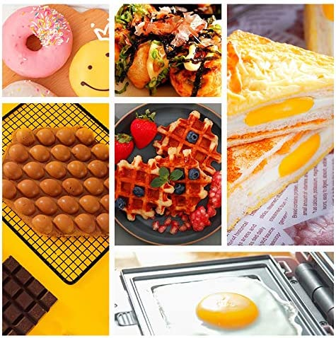 IJNUHB Sandwichera 2 En 1 Sandwichera Eléctrica 650W Control De Temperatura Gofrera para Panqueques, Galletas, Huevos Y Otros Alimentos,Rosado