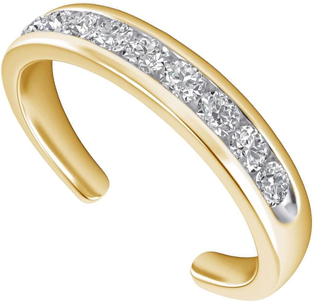 SwaraEcom Yellow Gold Plated Round Cubic Zirconia Open Back Channel Set Adjustable Toe Ring Thanksgiving Day