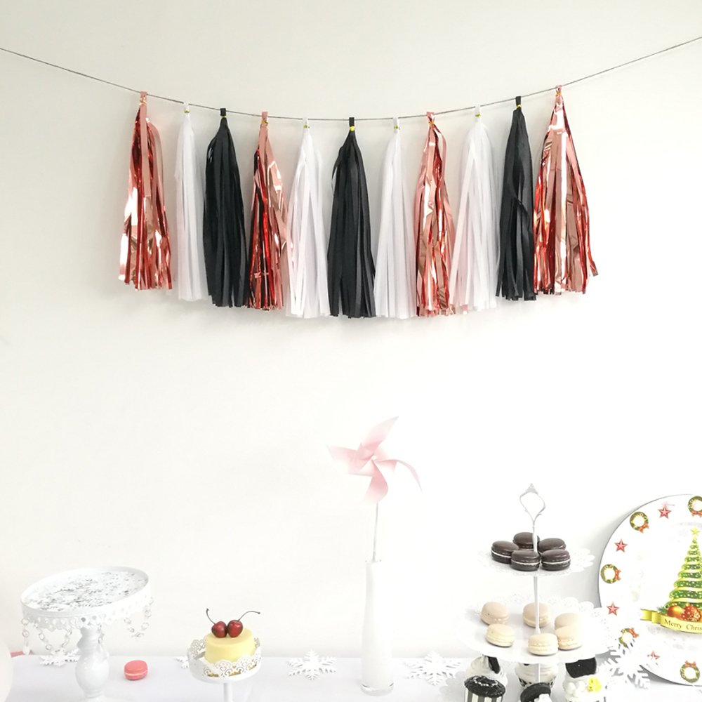 20pcs Shiny Tassel Garland Banner Tissue Paper Tassels For Wedding