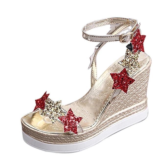 Damen Sandaletten Elegant Dasongff Frauen Sandaletten Keilabsatz Fisch Mund Plattform High Heels Wedge Sandalen
