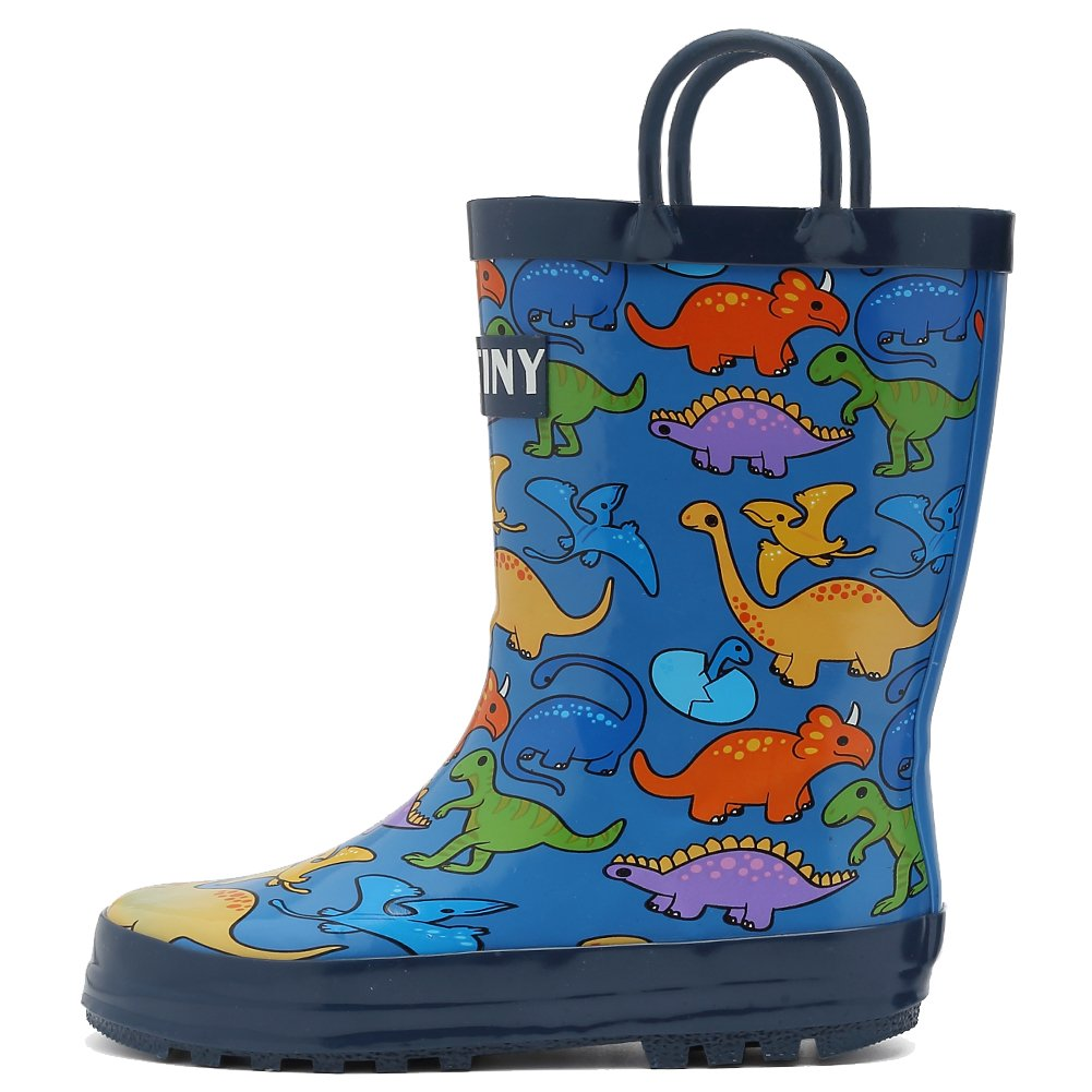 Fantiny Girls Rain Boots Durable Rubber Waterproof Shoes with Easy on Handles for Kid Toddler Boys,VHYX01,D.Blue,23