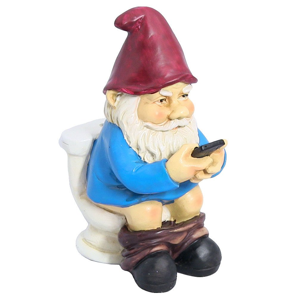 Funny Gnomes: Garden Gnome Reading Phone On Bathroom Toilet Lawn Yard