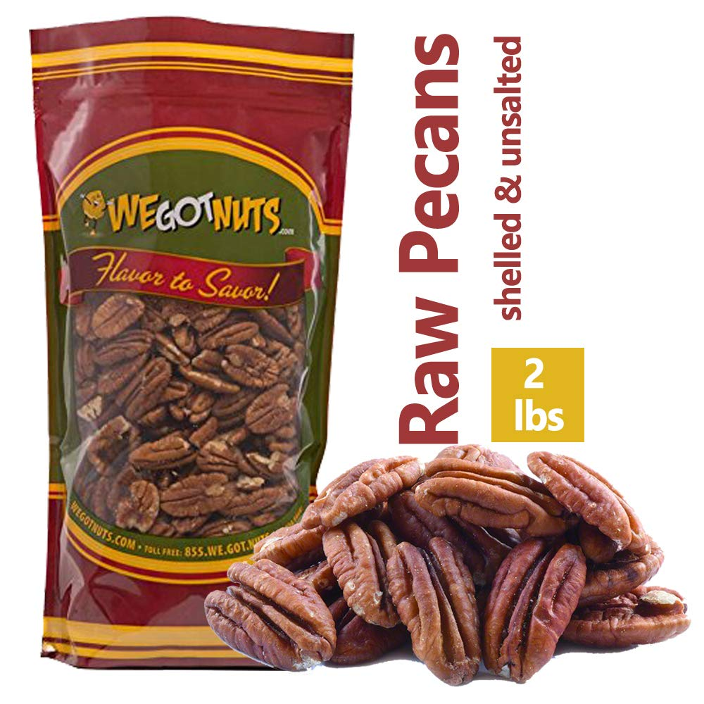 Two Pounds Of Pecans Raw, Whole, Shelled, Raw, Natural, No Preservatives Added, Non-GMO, NO PPO, 100% Natural We Got Nuts by We Grow Nuts
