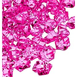 Homeneeds Inc Ice Rock Crystals Treasure Gems for Table Scatters, Vase Fillers, Event, Wedding, Birthday Decoration Favor, Arts & Crafts (1 lb. Bag) by (FUCHSIA)