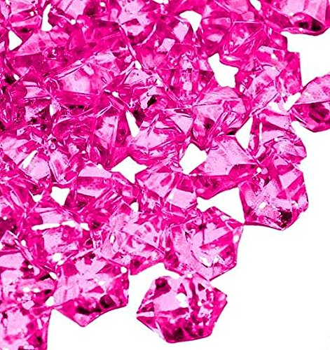 Homeneeds Inc Ice Rock Crystals Treasure Gems for Table Scatters, Vase Fillers, Event, Wedding, Birthday Decoration Favor, Arts & Crafts (1 lb. Bag) (Fuchsia)